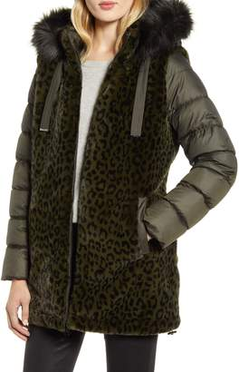 Via Spiga Water Resistant Faux Fur Puffer Coat