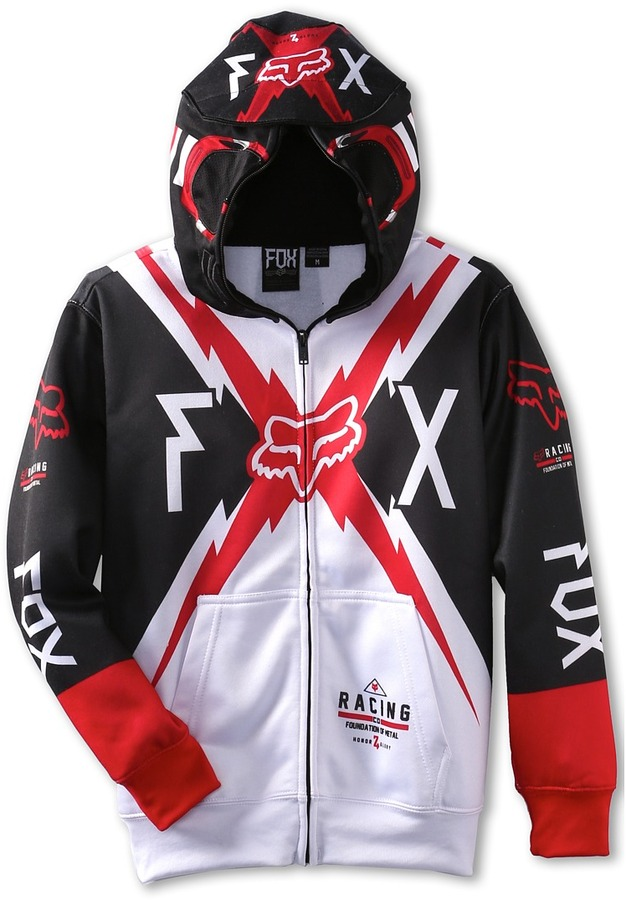 Fox Bolted Full Zip (Big Kids) (White) - Apparel