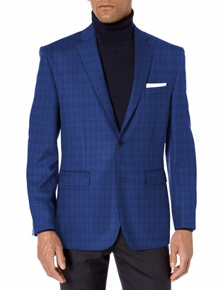 Vince Camuto Men's Two Button Modern Fit Texture Mini Check Blazer