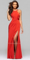 Faviana High Slit Satin Pleated Prom Dress