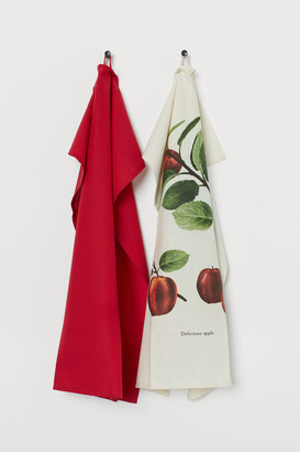 H&M 2-pack Cotton Tea Towels - Red