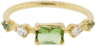 WWAKE 14kt yellow gold limited edition Vista green seafoam tourmaline and diamond ring