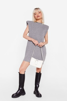 Nasty Gal Womens Petite Shoulder Pad Jumper Dress - Grey - S
