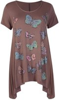 Xclusive Collection New Womens Plus Size Waterfall Hanky Hem Sequin Butterfly Print Long Tunic Top US22-24