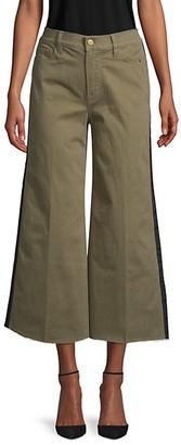 Frame Tuxedo-Stripe Cropped Wide-Leg Jeans