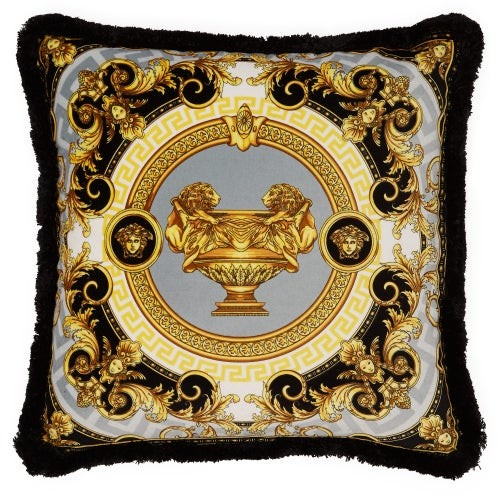 Versace La Coupe Des Dieux Velvet Cushion - Grey Gold