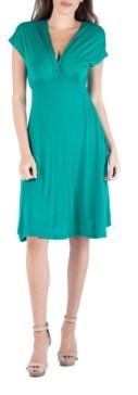 24seven Comfort Apparel V-Neck Cap Sleeve Empire Waist A-Line Dress