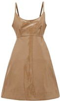 Ganni Tie-back Patent Faux-leather Dress - Womens - Beige