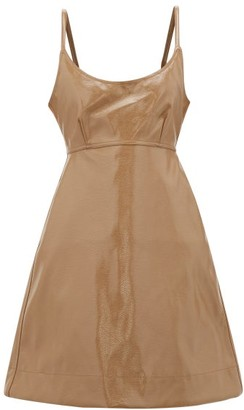 Ganni Tie-back Patent Faux-leather Dress - Beige