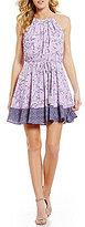 Takara Floral-Print High-Neck Sleeveless Blouson Dress