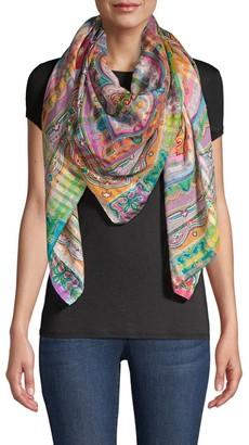 Etro Seersucker Stripe & Floral Silk Bombay Shawl