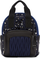 Miu Miu Blue Nylon Matelassé Backpack