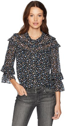 Rebecca Taylor Women's Long Sleeve Floral Printed Ruffle Blouse