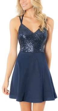 Speechless Juniors' Sequin-Top Strappy-Back Dress