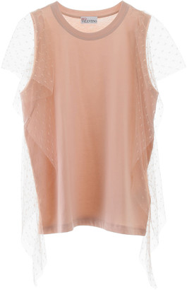 RED Valentino T-shirt With Plumetis Sleeves