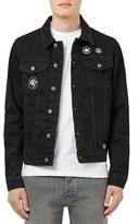 Topman Men's Black Denim Jacket With Patches