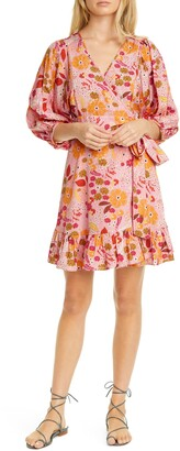 By Ti Mo Floral Ruffle Puff Sleeve Wrap Dress