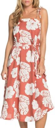 Roxy Nowhere To Hide Tie Shoulder Floral Print Midi Dress