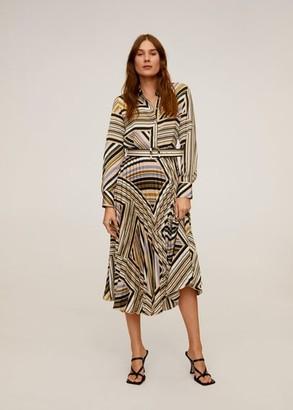 MANGO Pleated skirt dress ecru - 2 - Women