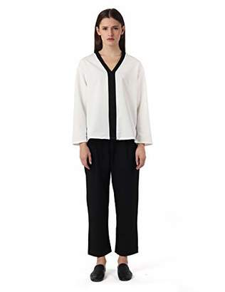 Off-White AMIE New York Women's V-Neck Long Sleeve Relaxed Fit Blouse Top Offwhite XLarge