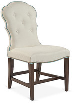 Arden Park Side Chair - Ivory - Lillian August - frame, mahogany; upholstery, ivory; piping, sky; nailheads, pewter