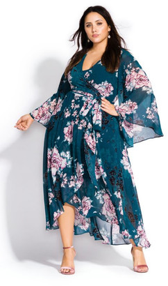 City Chic Jade Blossom Maxi Dress - jade
