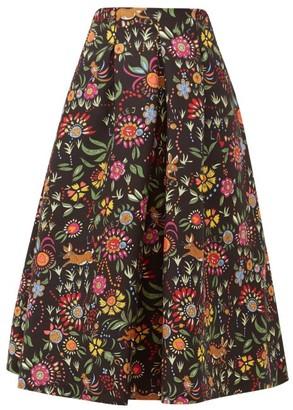 La DoubleJ Santa Monica Babe-print Wool-blend A-line Skirt - Womens - Black Print