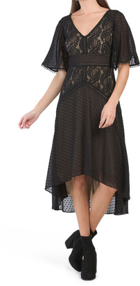 Flutter Sleeve Lace Mesh Dress