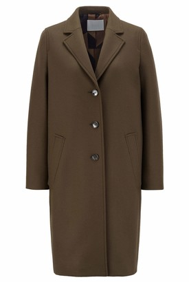 HUGO BOSS Womens C Coluise Relaxed-fit Coat in Wool-Blend Twill with Cashmere