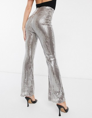 Club L London sequin flare leg pants in silver