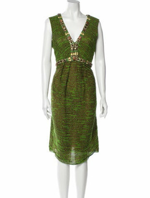 Oscar de la Renta Printed Midi Length Dress Green
