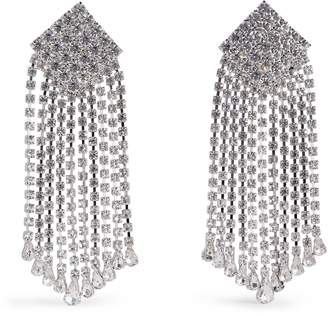 Alessandra Rich Square Crystal Long Clip-On Earrings