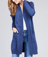 Lydiane Women's Open Cardigans NVY-heather - Heather Navy Long-Sleeve Side-Pocket Open Cardigan - Women