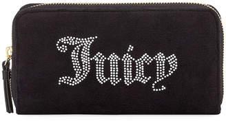 Juicy Couture Zip-Around Velour Wallet with Rhinestone Logo