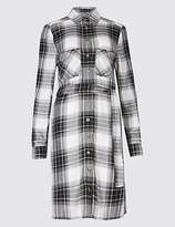 M&S Collection Checked Long Sleeve Shirt Dress with Belt