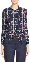 Julien David Women's Tie Neck Print Silk Shirt