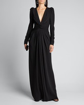 Monique Lhuillier Twisted Puff-Sleeve Gown