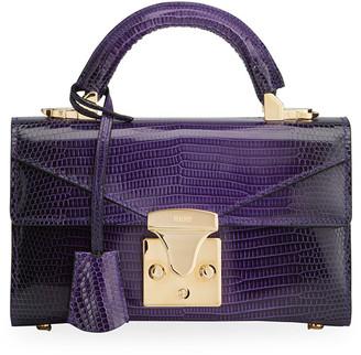 Stalvey Glossy Lizard 24K Gold 2.0 Mini Top-Handle Bag, Purple