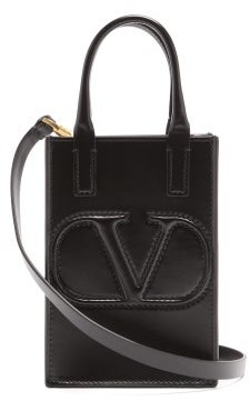 Valentino V-logo Leather Mini Cross-body Bag - Black