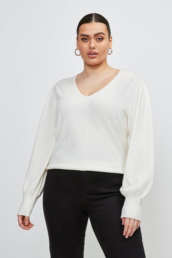 Karen Millen Curve Puff Sleeve V Neck Knitted Jumper