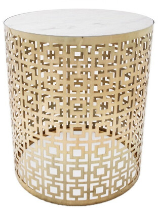J & K Europe Imports Fifth Side Table Brass And Marble