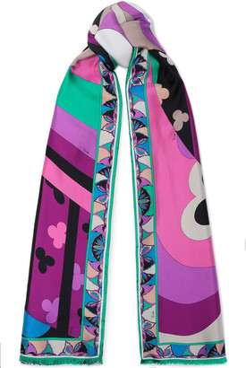Emilio Pucci Fringed Printed Silk And Cashmere-blend Twill Scarf