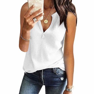 JUTOO Womens Fashion V Neck Shirts Sleeveless Solid Waffle Knit Loose Fitting Tee Tops Gray