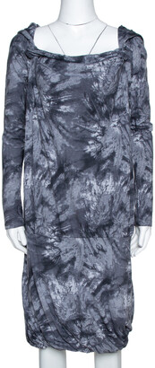 McQ Graphite Printed Cotton Jersey Hooded Dress XS