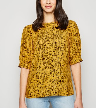 New Look Spot Puff Sleeve Blouse