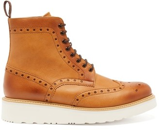 Grenson Fred Faux-leather Lace-up Boots - Tan