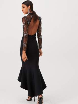 Forever Unique U Collection Long Sleeve Lace and Bandage Mix Maxi Dress - Black