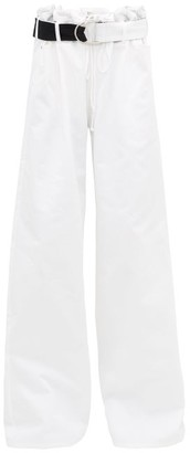 La Fetiche - Keith Belted Paperbag-waist Wide-leg Jeans - White