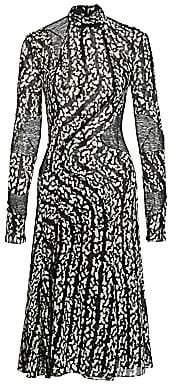 Proenza Schouler Women's Printed Chiffon Panel Stretch-Silk Dress