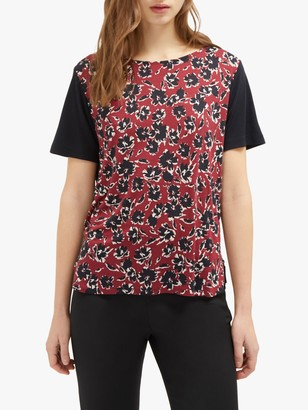 French Connection Aubi Jersey Short Sleeve Tee, Red/Multi